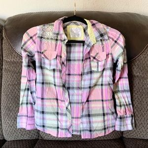 Girl's Justice plaid button up shirt